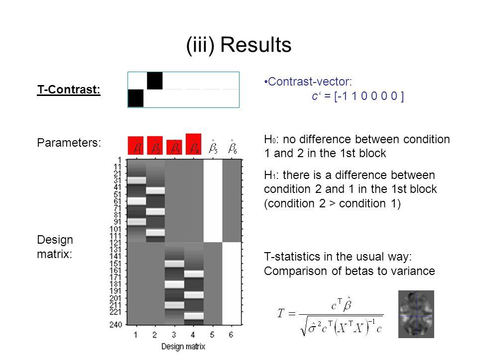 (iii) Results Contrast-vector: c' = [-1 1 0 0 0 0 ] T-Contrast: